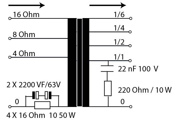 composants de protection, un circuit RC sur le côté primaire et sur le côté secondaire